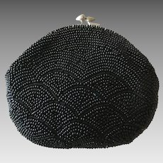 Vintage Black Beaded Coin Purse - Made in Japan