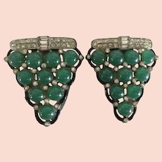 Green Cabochon and Rhinestone Art Deco Shoe / Sweater / Fur Clips
