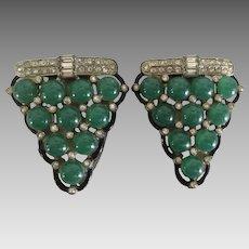Green Cabochon and Rhinestone Art Deco Shoe / Sweater / Fur Clips