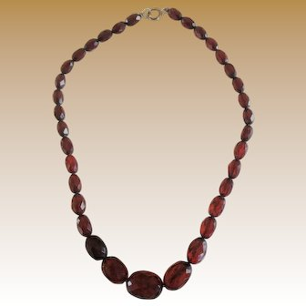 15 inch Cherry Bakelite Necklace with Graduated Faceted Beads