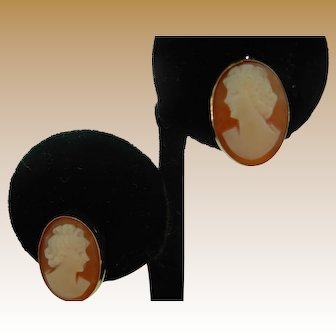 Shell Cameo Gold-Filled Screwback Earrings