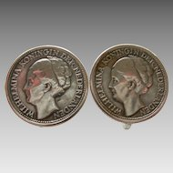 1944 Curacao Wilhelmina Coin Earrings