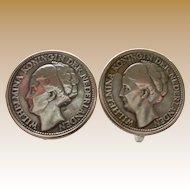 1944 Curacao Wilhelmina Coin Earrings