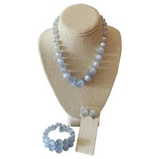 Light Blue Moon Glow Bracelet, Necklace and Earring Parure