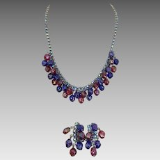 Blue Rhinestone and Beaded Necklace and Earring Set