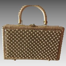 1950s Beaded Straw Handbag