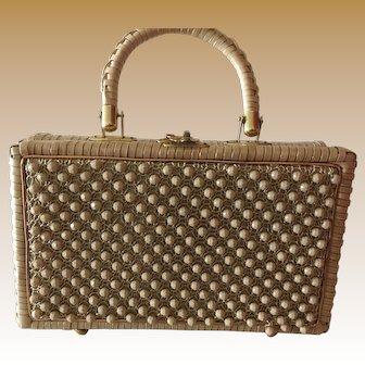 1950s Beaded Straw Handbag