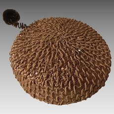 Brown Woven Pill Box Hat with Curly Pom Pom