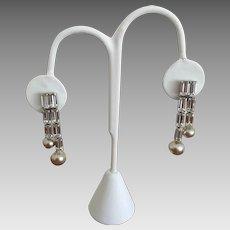 Rhinestone Baguette and Faux Gray Pearl Earrings