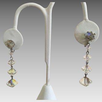 Vintage Rivoli Crystal Dangle Earrings