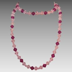 Long Pink and Fuscia Cut Crystal Necklace