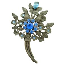 Blue Stone Floral Pin