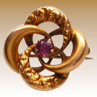 10K Lover's Knot Pin / Pendant with Center Purple Stone
