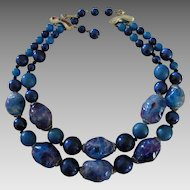 Coro Blue Double Strand Necklace