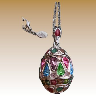 """Exceptional Joan Rivers Jeweled Russian Egg Pendant Necklace Signed with 28"""" Rope Chain"""