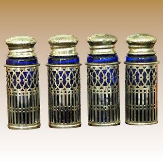 Raimond Silver Plate Cobalt Blue Salt and Pepper Shakers in Original Box