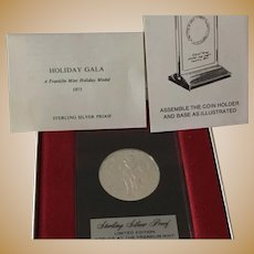 "1975 Sterling Silver Proof Franklin Mint ""Holiday Gala"" Commemorative Medal"