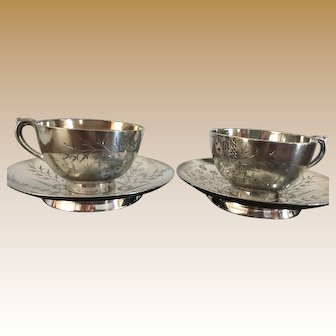 Rogers and Brother Co. Engraved Floral Moustache Cup and Tea Cup Saucer Set Triple Plate, Circa 1880