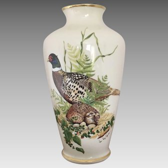 Authentic Lenox Vase 'Ring-Necked Pheasant' Limited Edition Signed by Val Roy Gerischer