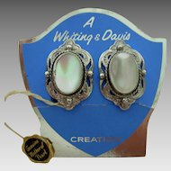 New Old Stock Whiting and Davis Mother of Pearl Earrings