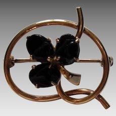 WRE Onyx 12K Gold Filled Flower Pin