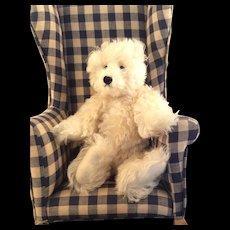 "Curly White, Silky Mohair Teddy Bear~ Artist Cavallaro~ 12"""