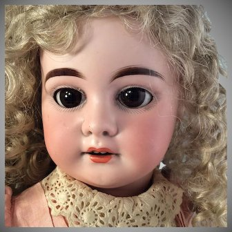 "~ 21""~  A 1894 M~ Original Pink dress~ antique Bisque head doll~ Wonderful!"