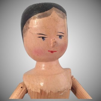Antique Penny Wooden Doll ~ Grodnertal 12""
