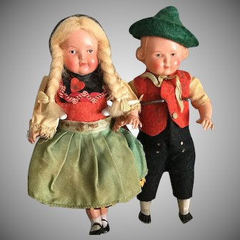 German Celluloid Costume Dolls~ 6.5 inches