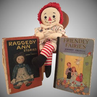 2 Original Raggedy Anne Books & Knickerbocker Doll
