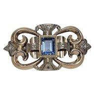 Beautiful Art Nouveau Blue Spinel Brooch, 14 Kt YG and WG