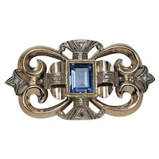 Beautiful Art Nouveau Blue Spinel Brooch, 14 Kt YG and WG