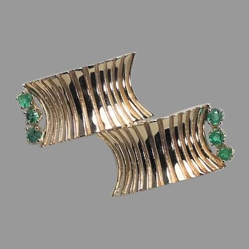 Cartier Abstract Gold and Emerald Brooch, 1960's. 14 Kt YG