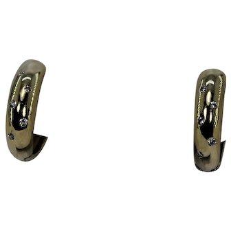 Oval Diamond Gold and Diamond Huggie Earrings.  14Kt YG