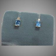 Blue Topaz and Diamond Earrings, 14 Kt YG