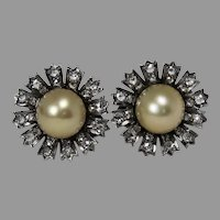 Gorgeous Vintage Cultured Pearl and Diamond Daisy Omega Back Earrings, 18 kt. WG