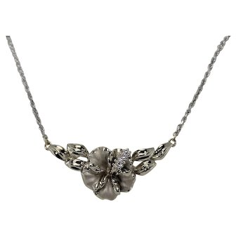 Gorgeous Hibiscus and Diamond Flower Pendant with Chain, !4Kt, WG