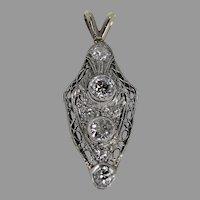 Vintage Diamond Pendent, Plat and 14Kt WG