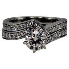 Platinum Diamond Wedding Set, Center Diamond Approx 1.1 carat.