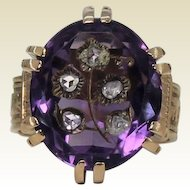 Victorian Etruscan Large Amethyst and Rose Cut Diamond Ring, 18Kt YG