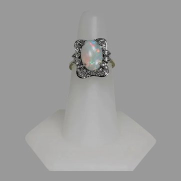 Vintage Opal and Diamond Ring, Two Toned, 14Kt
