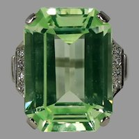 Amazing Designer Lime Green Synthetic Spinel and Diamond Ring, 14 kt WG