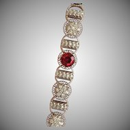 Fabulous Art Deco Style Diamond and Red Amethyst Bracelet, 18kt and 14kt gold