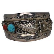 Annie Chapo Sterling Silver and Turquoise Native American Cuff Bracelet