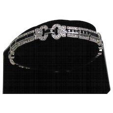 Vintage Diamond and Blue Spinel Bracelet, 14K WG