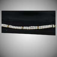 Double Strand Pearl , Emerald and Diamond Bracelet. 14Kt YG .  7 inches