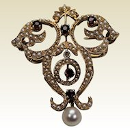 Victorian Seed Pearl and Garnet Brooch, 14Kt YG