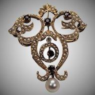 Victorian Seed Pearl and Garnet Brooch, 14Kt YG