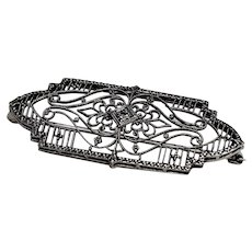 Filigree and White Sapphire Brooch, 10Kt WG