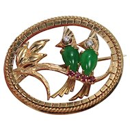 Fabulous Two Birds on a Branch Brooch with Jade, Diamonds and Rubyies, 14 Kt YG